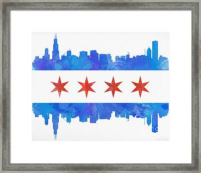 Chicago Flag Watercolor Framed Print by Mike Maher