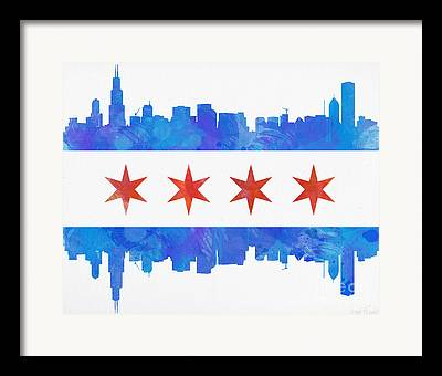 Chicago Flag Framed Prints