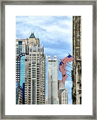 Chicago - Flags Along Michigan Avenue Framed Print by Susan Savad