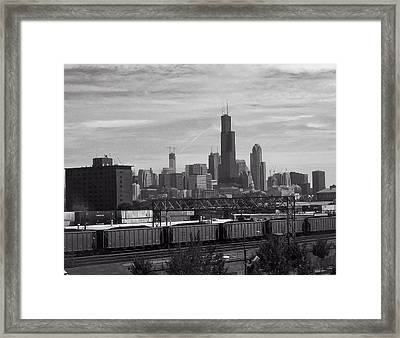 Chicago From Train Yard Framed Print by Chris Flees