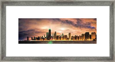 Chicago Gotham City Skyline Panorama Framed Print