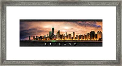 Chicago Gotham City Skyline Panorama Poster Framed Print