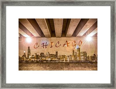 Chicago Graffiti Skyline Framed Print by Semmick Photo
