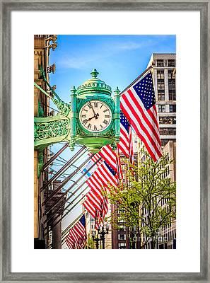 Chicago Great Clock On Macys Building Framed Print by Paul Velgos