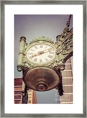 Chicago Great Clock Vintage Photo Framed Print by Paul Velgos