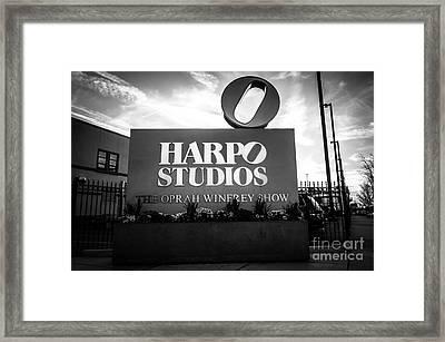 Chicago Harpo Studios Sign In Black And White Framed Print by Paul Velgos