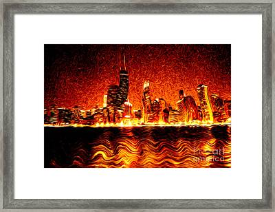 Chicago Hell Digital Painting Framed Print by Paul Velgos
