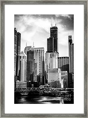 Chicago High Resolution Picture In Black And White Framed Print
