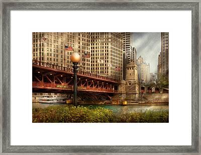 Chicago Il - Dusable Bridge Built In 1920 Framed Print