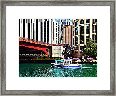 Chicago Il - Water Taxi By Columbus Drive Bridge Framed Print by Susan Savad