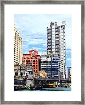 Chicago Il - Water Taxi Passing Under Lyric Opera Bridge Framed Print by Susan Savad