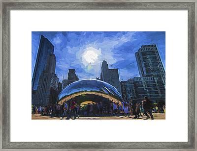 Chicago Illinois Bean Skyline Painted Digitally  Framed Print by David Haskett