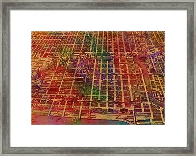 Chicago Illinois Map Business District 1898 Birds Eye View Watercolor Painting On Parchment  Framed Print by Design Turnpike