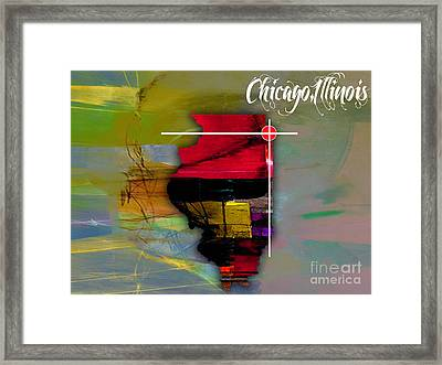 Chicago Illinois Map Watercolor Framed Print by Marvin Blaine