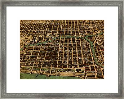 Chicago Illinois Vintage Map Business District 1898 Birds Eye View Illustration On Parchment  Framed Print by Design Turnpike