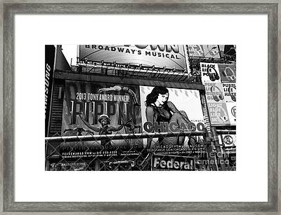 Chicago In New York City Mono Framed Print
