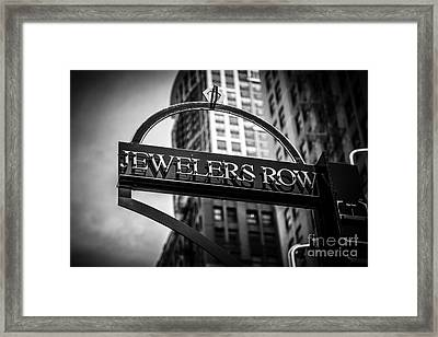 Chicago Jewelers Row Sign In Black And White  Framed Print