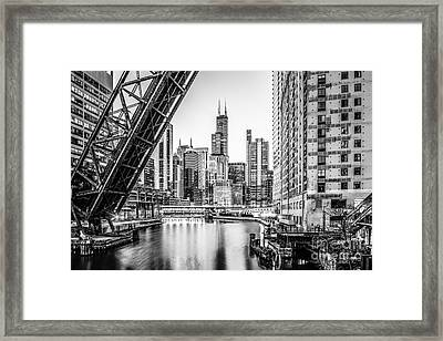Chicago Kinzie Railroad Bridge Black And White Photo Framed Print
