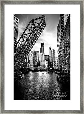 Chicago Kinzie Street Bridge Black And White Picture Framed Print