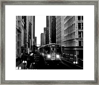 Chicago L Black And White Framed Print