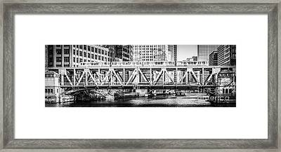 Chicago Lake Street Bridge L Train Black And White Picture Framed Print by Paul Velgos