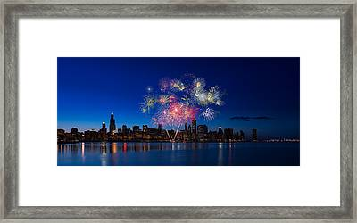 Chicago Lakefront Fireworks Framed Print by Steve Gadomski