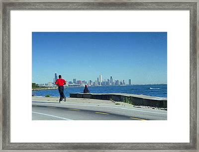 Chicago Lakefront Runner Framed Print by Eric Miller