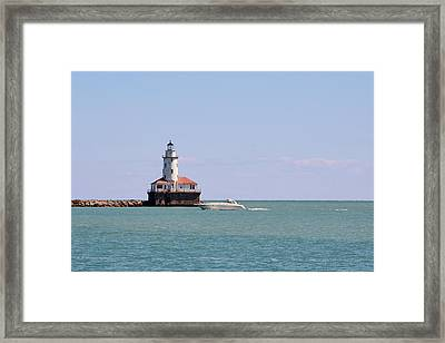 Chicago Light House With Boat In Lake Michigan Framed Print by Christine Till