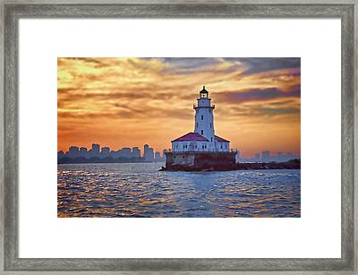 Chicago Lighthouse Impression Framed Print by John Hansen