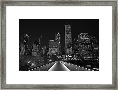 Chicago Lights B W Framed Print by Steve Gadomski