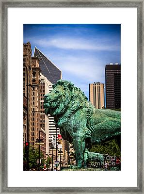 Chicago Lion Statues At The Art Institute Framed Print by Paul Velgos