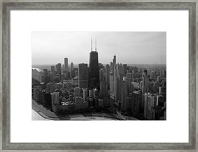 Chicago Looking South 01 Black And White Framed Print by Thomas Woolworth