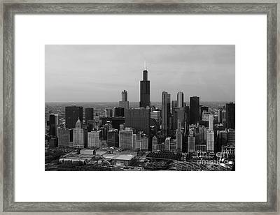 Chicago Looking West 01 Black And White Framed Print by Thomas Woolworth