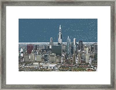 Chicago Looking West In A Snow Storm Digital Art Framed Print by Thomas Woolworth
