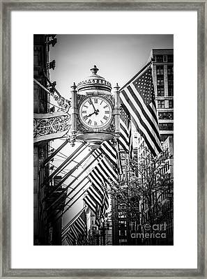 Chicago Macy's Clock In Black And White Framed Print by Paul Velgos