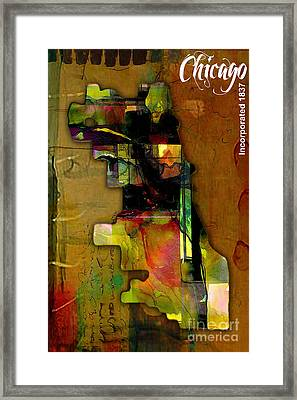 Chicago Map Watercolor Framed Print