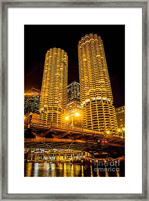 Chicago Marina City Towers At Night Picture Framed Print by Paul Velgos