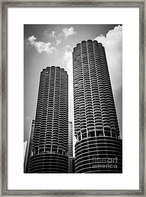 Chicago Marina City Towers In Black And White Framed Print by Paul Velgos