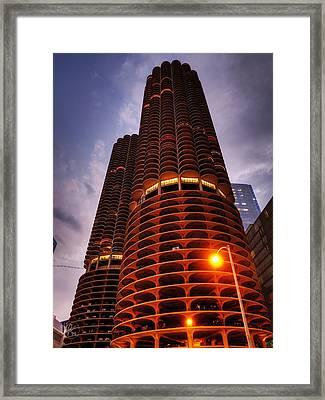Chicago - Marina City Twilight Framed Print by Lance Vaughn