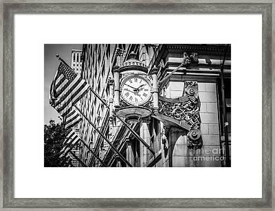 Chicago Marshall Fields Clock In Black And White Framed Print by Paul Velgos
