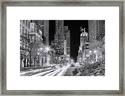 Chicago Michigan Avenue Light Streak Black And White Framed Print