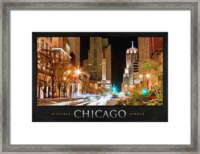 Chicago Michigan Avenue Light Streak Poster Framed Print by Christopher Arndt