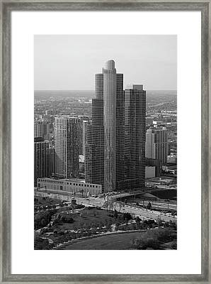 Chicago Modern Skyscraper Black And White Framed Print by Thomas Woolworth