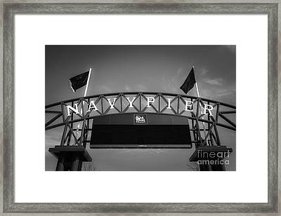 Chicago Navy Pier Sign In Black And White Framed Print