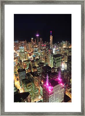Chicago Night Aerial View Framed Print