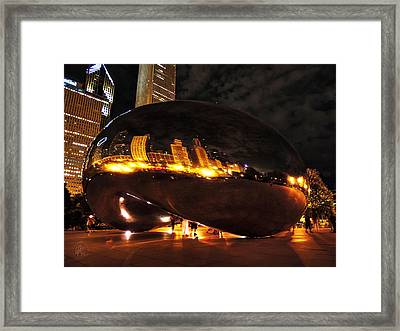 Chicago Night At Cloud Gate 001 Framed Print by Lance Vaughn