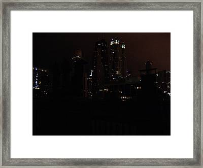 Chicago Night From Roof Framed Print by Mieczyslaw Rudek