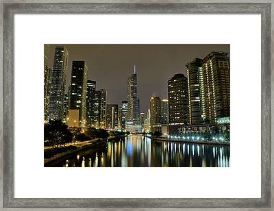 Chicago Night River View Framed Print by Frozen in Time Fine Art Photography