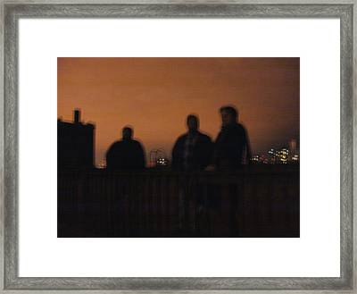 Chicago Night With People On Roof Framed Print by Mieczyslaw Rudek