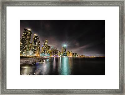 Chicago Nightscape Framed Print by Raf Winterpacht